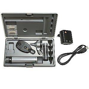 Set Oftalmoscopio-Otoscopio Heine Beta 200 LED F.O., Mango Recargable con Cable USB