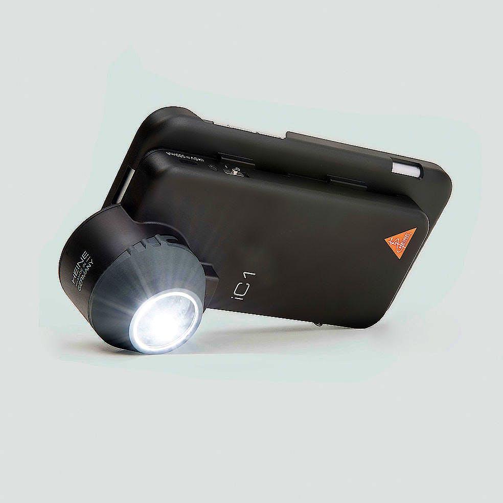Dermatoscopio Digital Heine LC1 con Disco de Contacto con Escala, Carcasa-Adaptador LC1/6 para Iphone 6/6s, Cable USB con Fuente de Alimentación