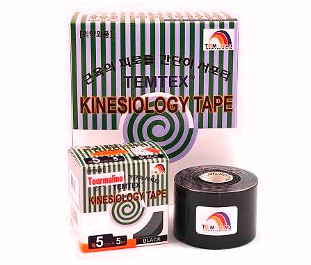 Temtex Tourmaline Kinesiology Tape: Caja de 6 Rollos de 5 Metros X 5 Cm. - Color Negro