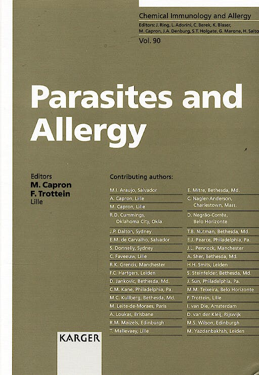 Portada del libro 9783805579742 Parasites and Allergy