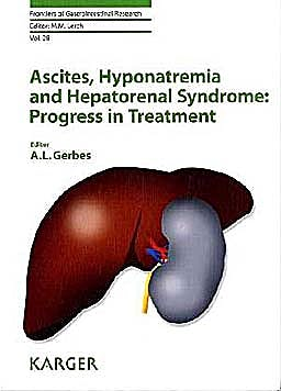 Portada del libro 9783805595919 Ascites, Hyponatremia and Hepatorenal Syndrome: Progress in Treatment (Frontiers of Gastrointestinal Research, Vol. 28)