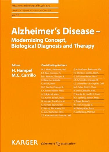 Portada del libro 9783805598026 Alzheimer's Disease - Modernizing Concept, Biological Diagnosis and Therapy