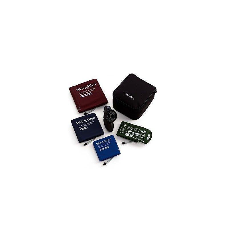 Tensiometro Welch Allyn Aneroide Mod. DS58 Durashock + 4 manguito reutilizables FlexiPort: niño, adulto pequeño, adulto, adulto grande largo y estuche