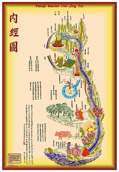 Lámina Paisaje Interior (Nei Jing Tu), 35 X 50 cm., Plastificada Brillo