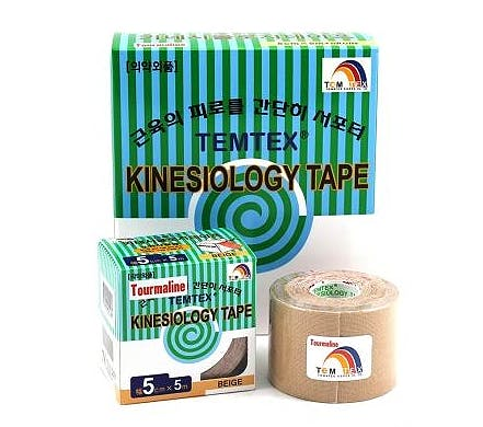 Temtex Tourmaline Kinesiology Tape: Caja de 6 Rollos de 5 Metros X 5 Cm. - Color Beige