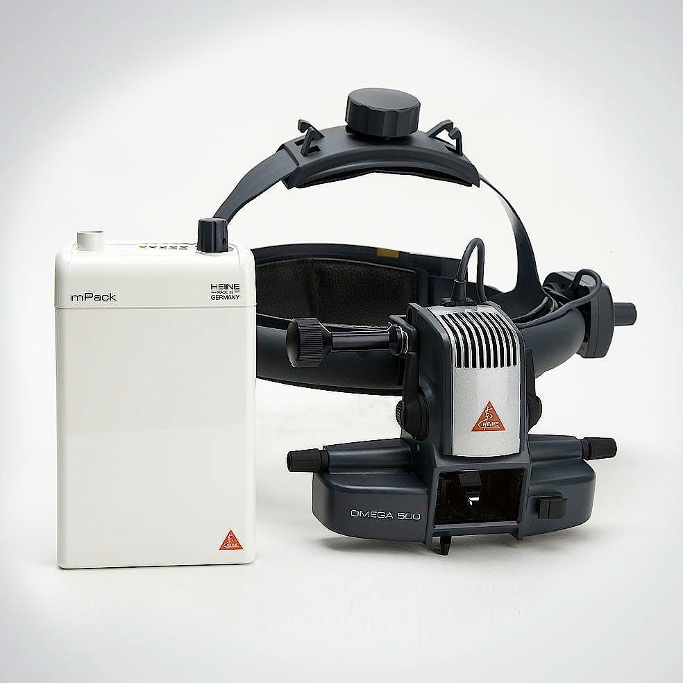 Oftalmoscopio Heine Indirecto Omega500 XHL Xenón Halógeno con Casco Frontal + Depresores, Lupa AR20D, Espejo Coobservador, 1 Lámpara de Recambio,mPack