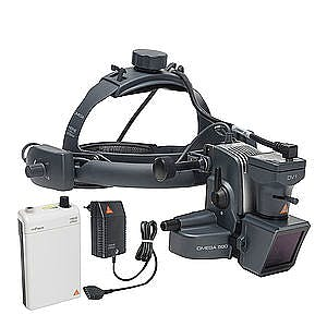 Oftalmoscopio Heine Indirecto Omega500 LED con Casco Craneal, con HC 50L Reostato, Cámara DV1 Video Digital, Mpack con Transformador de Enchufe