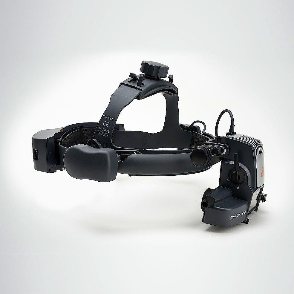 Oftalmoscopio Heine Indirecto Omega500 Kit 6 con HC 50 L, Cargador de Pared EN 50 UNPLUGGED, 2x mPack UNPLUGGED