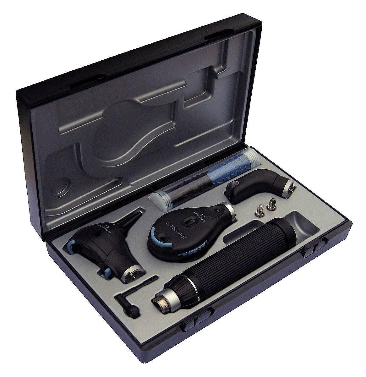 Set Oftalmoscopio-Otoscopio y Soporte para Depresor Lingual Riester Ri-Scope Perfect Oto- L3/oftal. L2 XL/HL 2,5 V, Mango C para 2 Baterias Al