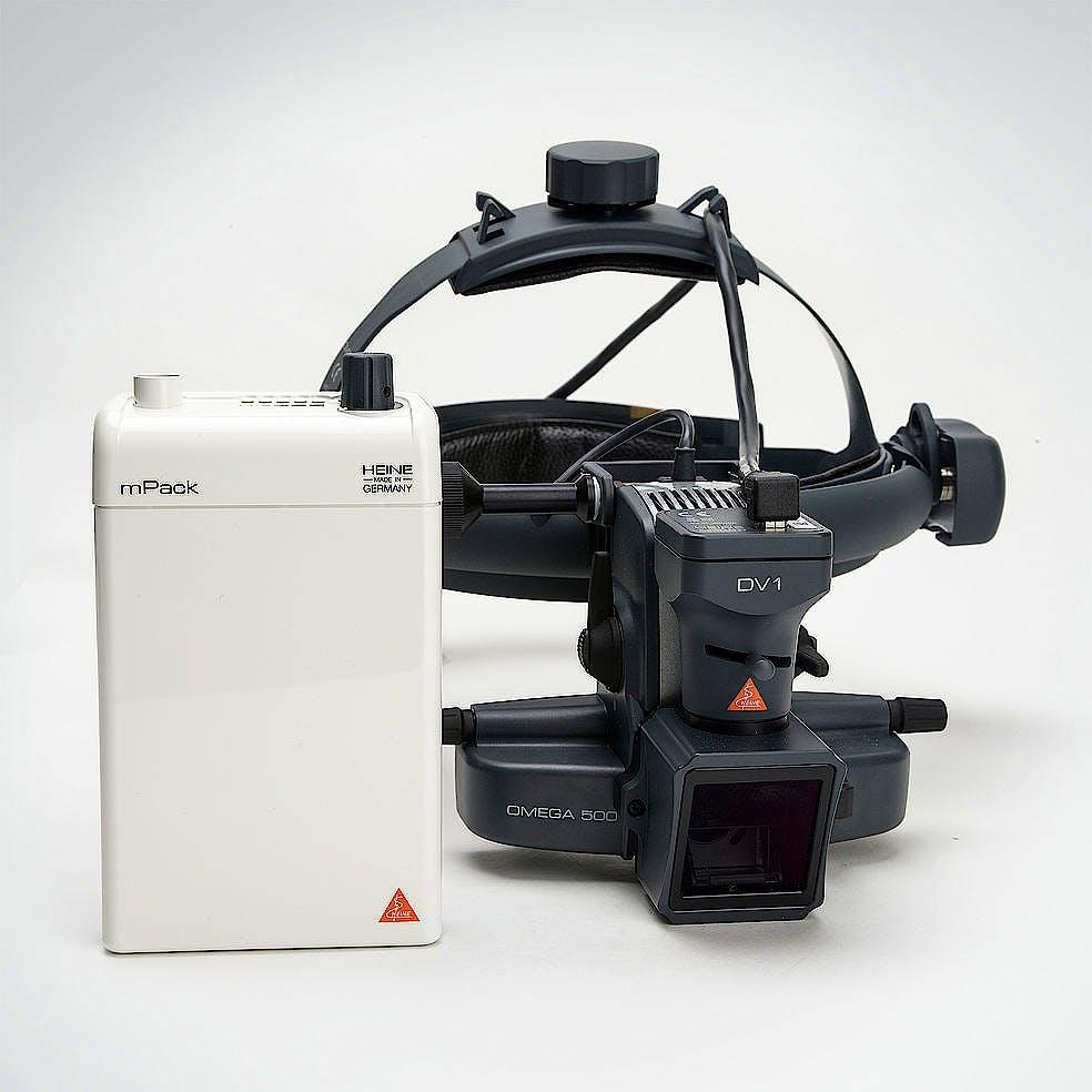 Oftalmoscopio Heine Indirecto Omega500 XHL Xenón Halógeno 6 V. con Casco Craneal, con Cámara Digital de Video DV1