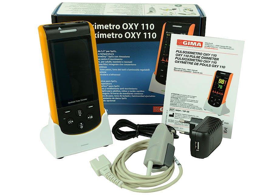 Pulsioxímetro de Dedo Gima Oxy - 110 Kit con Sensor Adultos Incorporado - Bateria Recargable + Base para Carga