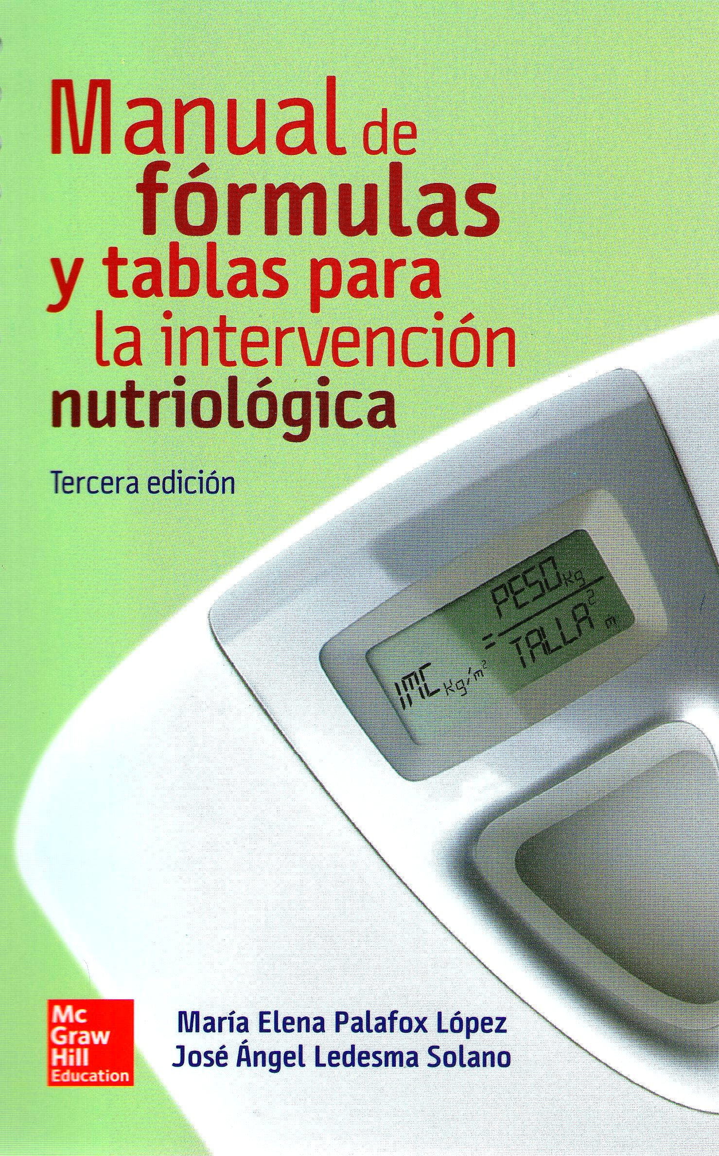 Portada del libro 9786071512659 Manual de Formulas y Tablas para la Intervencion Nutriologica