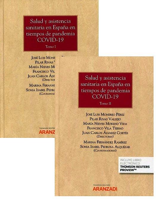 Portada del libro 9788413462585 Salud y Asistencia Sanitaria en España en Tiempos de Pandemia COVID-19, 2 Tomos