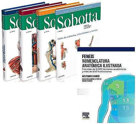Portada del libro 9788413821375 Lote Sobotta Atlas de Anatomía Humana, 3 Vols. + Feneis Nomenclatura Anatómica Ilustrada