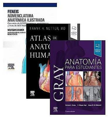 Portada del libro 9788413821405 Lote Gray Anatomía para Estudiantes + Feneis Nomenclatura Anatómica Ilustrada + Netter Atlas de Anatomía Humana
