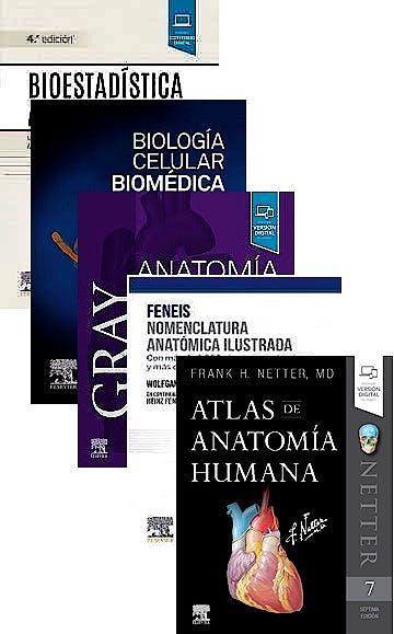 Portada del libro 9788413821443 Lote GRAY Anatomía para Estudiantes + Nomenclatura Anatómica Ilustrada + Atlas de Anatomía Humana + Biología Celular Biomédica + Bioestadística Amiga