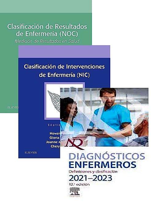 Portada del libro 9788413822426 Lote NANDA Diagnósticos Enfermeros 2021-2023 + NIC Clasificación de Intervenciones + NOC Clasificación de Resultados (Enfermería NNN)