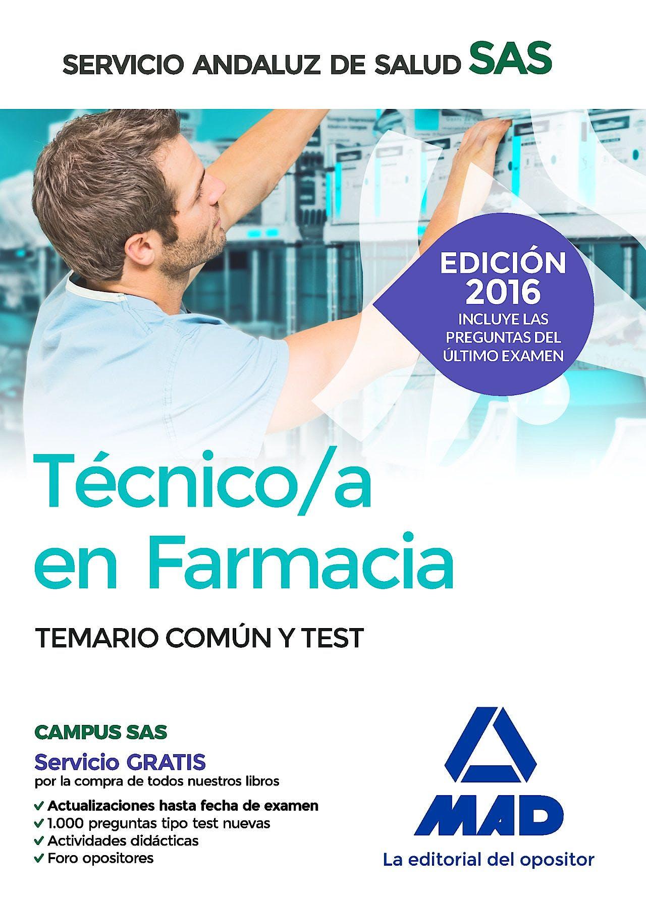 Portada del libro 9788414200056 Tecnico/a en Farmacia Servicio Andaluz de Salud (Sas). Temario Comun y Test