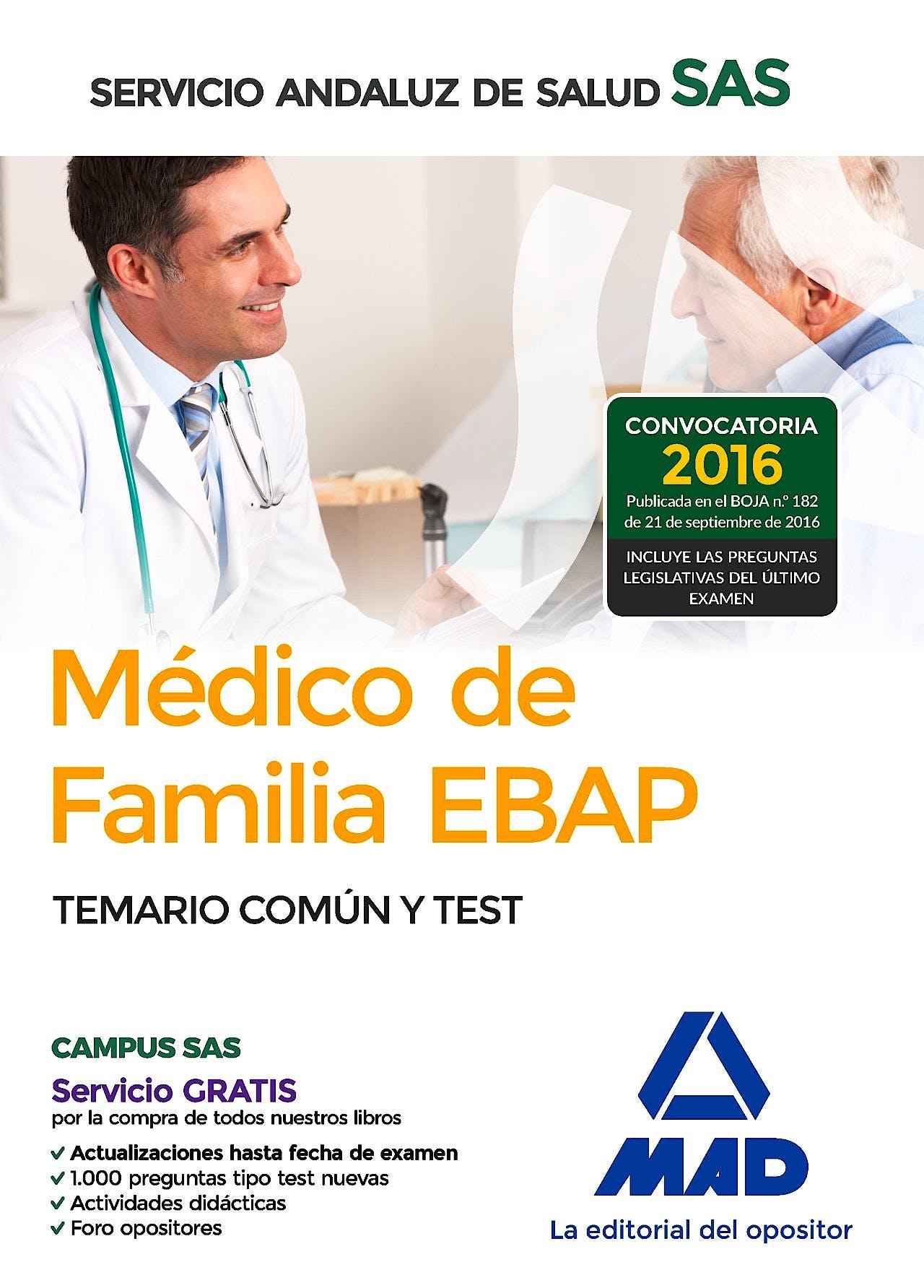 Portada del libro 9788414201053 Medico de Familia Ebap Servicio Andaluz de Salud (Sas). Temario Comun y Test