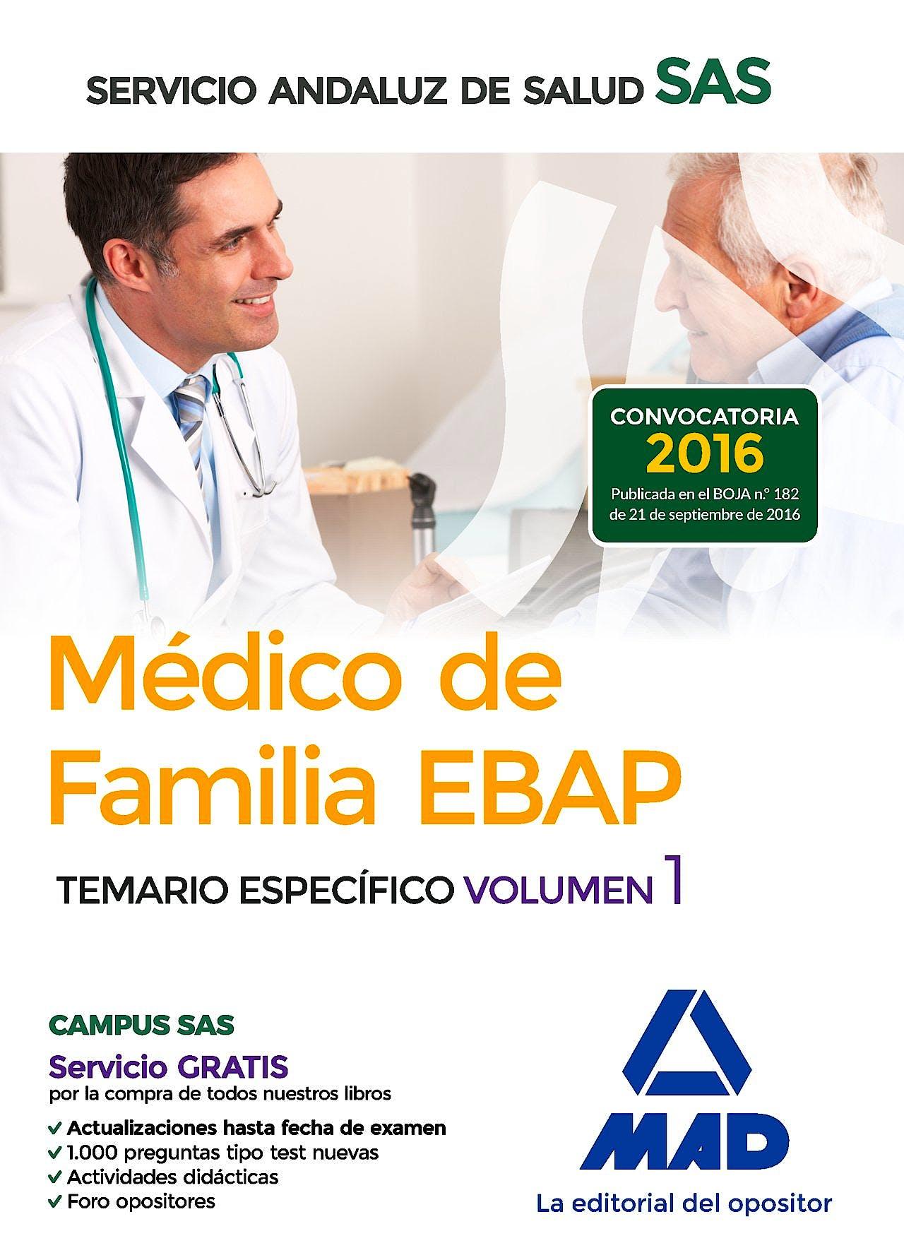 Portada del libro 9788414201282 Médico de Familia EBAP Servicio Andaluz de Salud (SAS). Temario Específico, Vol. 1