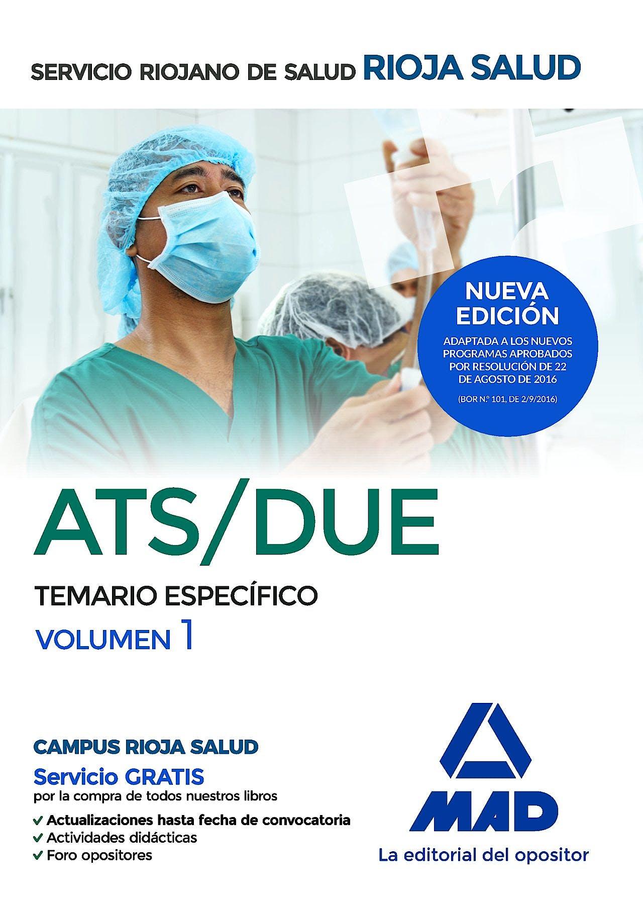 Portada del libro 9788414202692 Ats/due del Servicio Riojano de Salud. Temario Especifico, Vol. 1