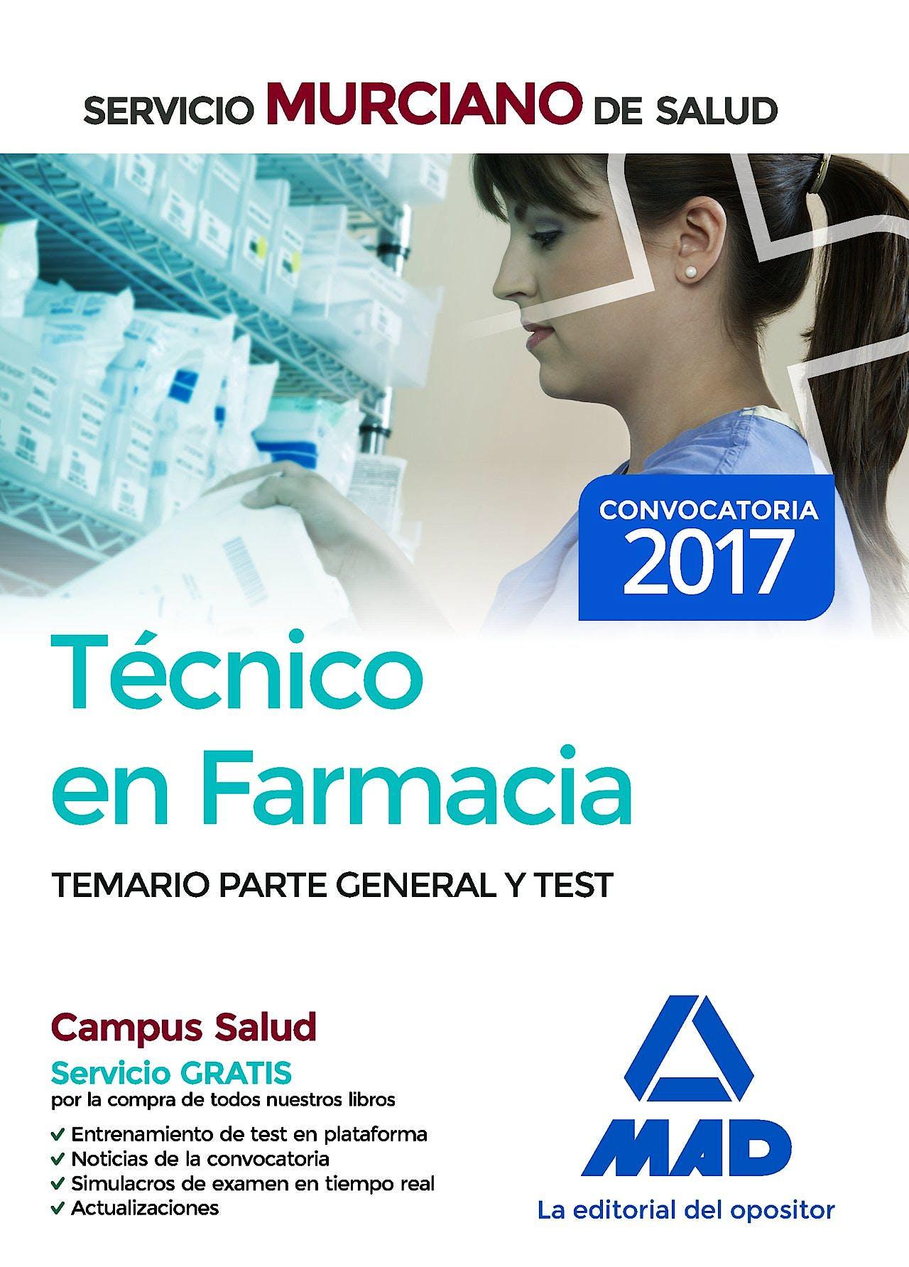 Portada del libro 9788414203309 Técnico en Farmacia Servicio Murciano de Salud. Temario Parte General y Test