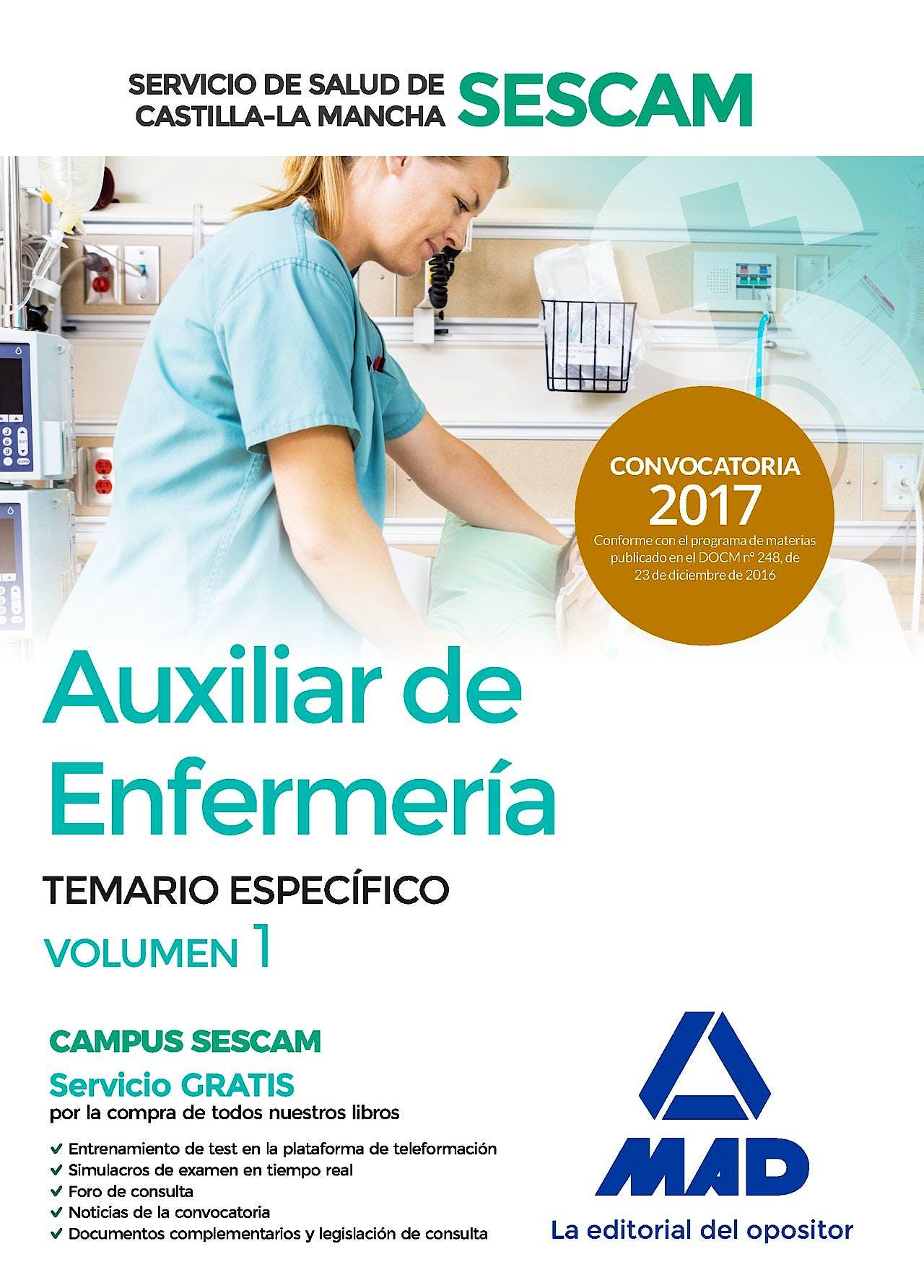 Portada del libro 9788414204771 Auxiliar de Enfermería del Servicio de Salud de Castilla-la Mancha (Sescam). Temario Específico. Volumen 1