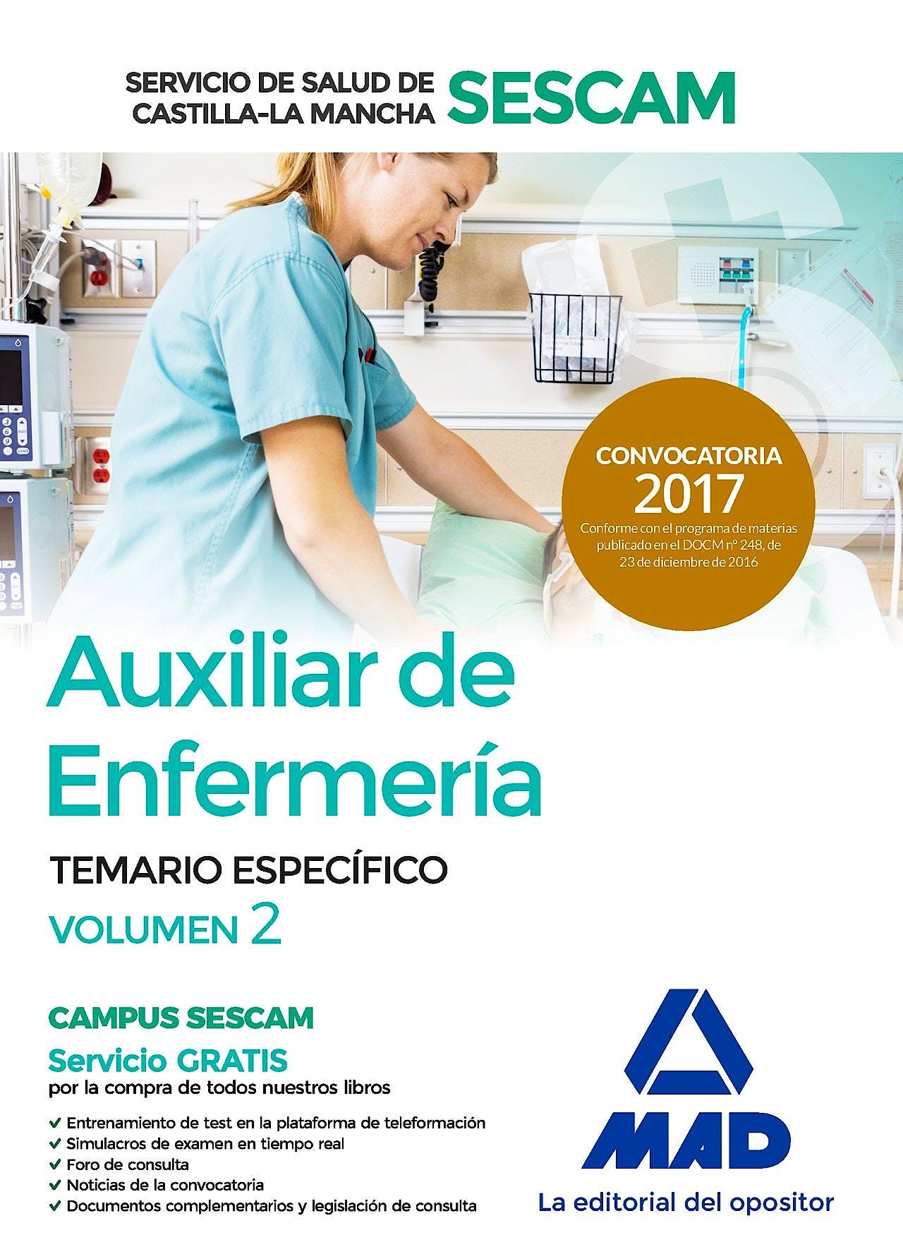 Portada del libro 9788414204788 Auxiliar de Enfermería del Servicio de Salud de Castilla-la Mancha (Sescam). Temario Específico. Volumen 2