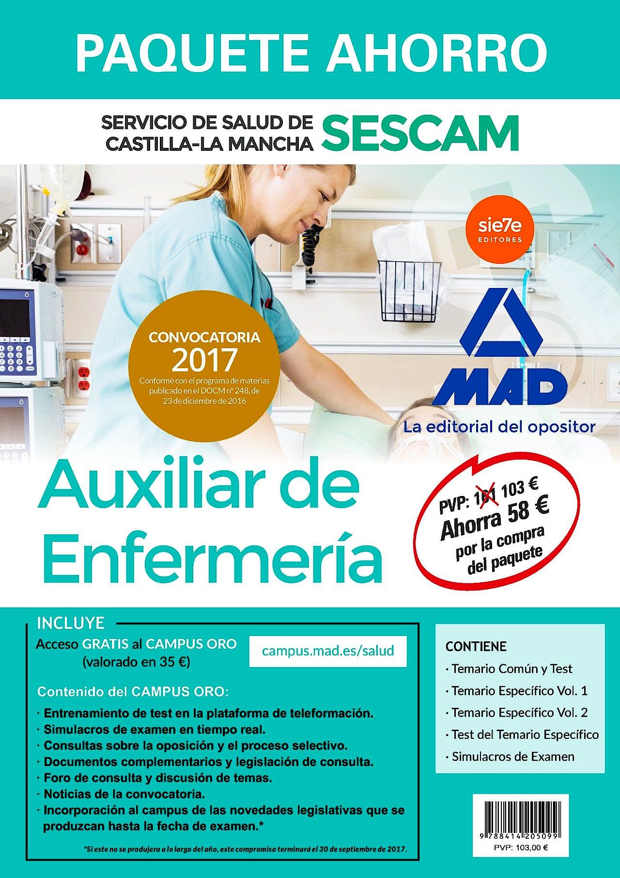 Portada del libro 9788414205099 Paquete Ahorro Auxiliar de Enfermería de SESCAM (Total 5 libros e Incluye Acceso a Campus Oro)