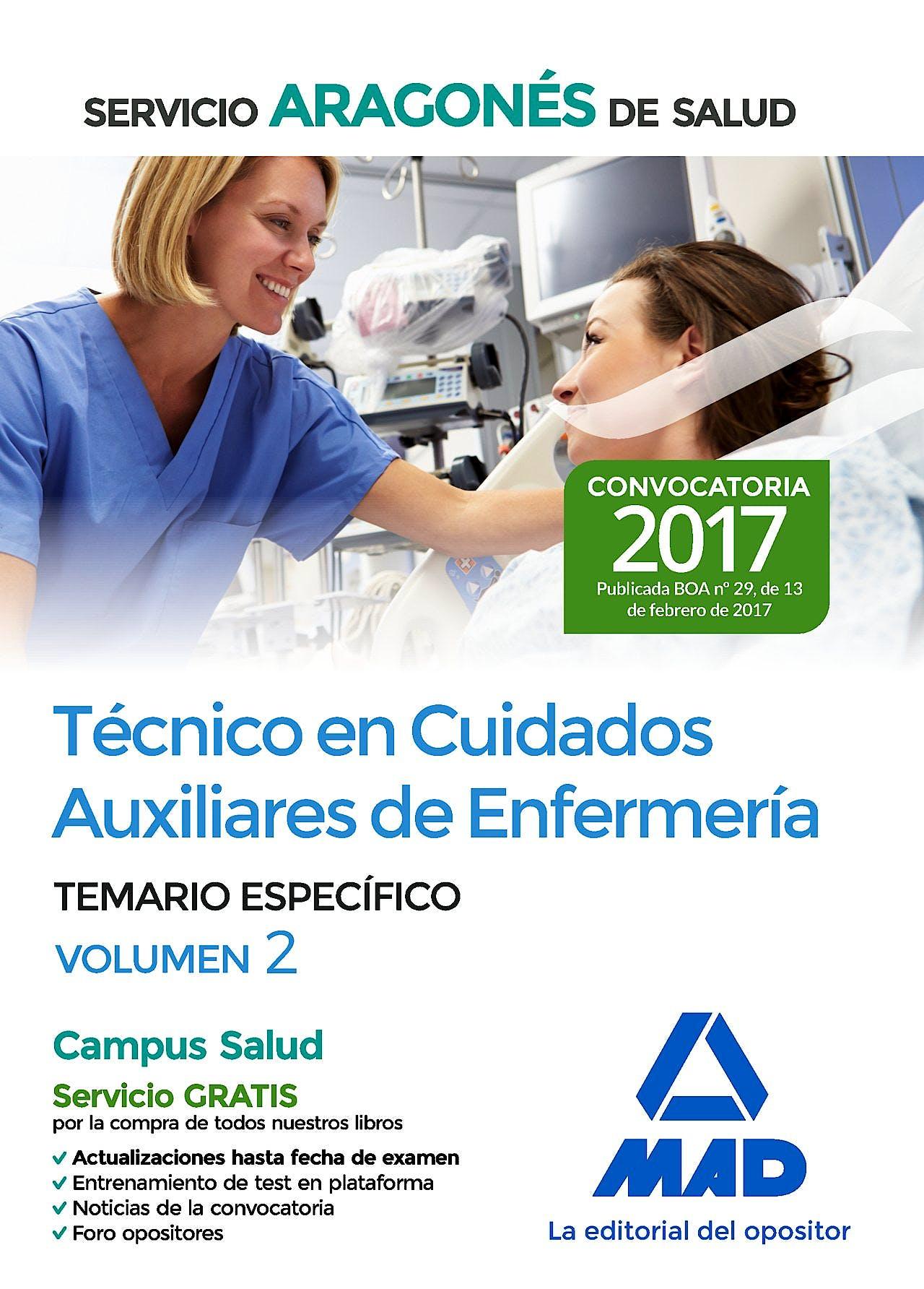 Portada del libro 9788414205297 Técnico en Cuidados Auxiliares de Enfermería Servicio Aragonés de Salud. Temario Específico, Vol. 2
