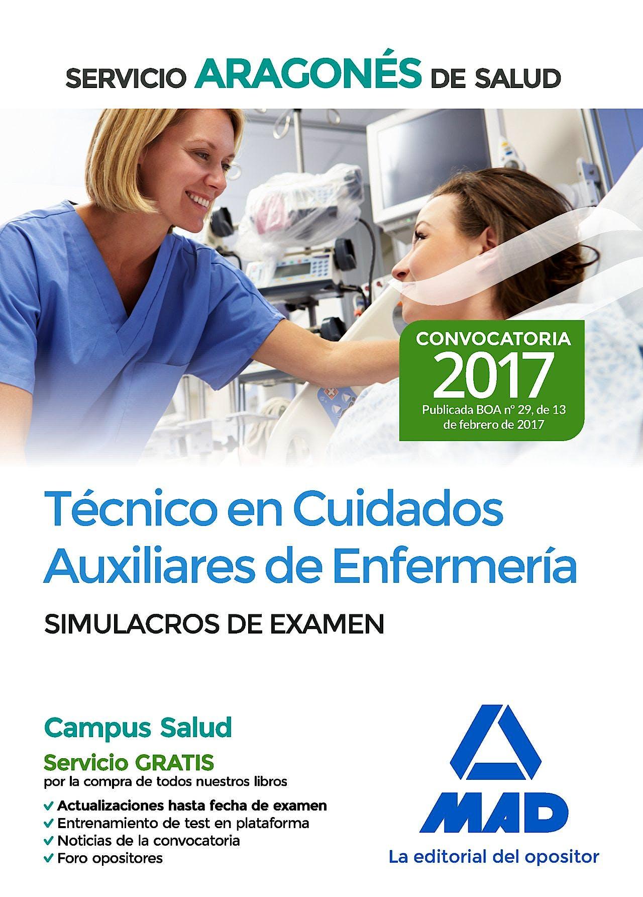 Portada del libro 9788414205822 Técnico en Cuidados Auxiliares de Enfermería Servicio Aragonés de Salud. Simulacros de Examen