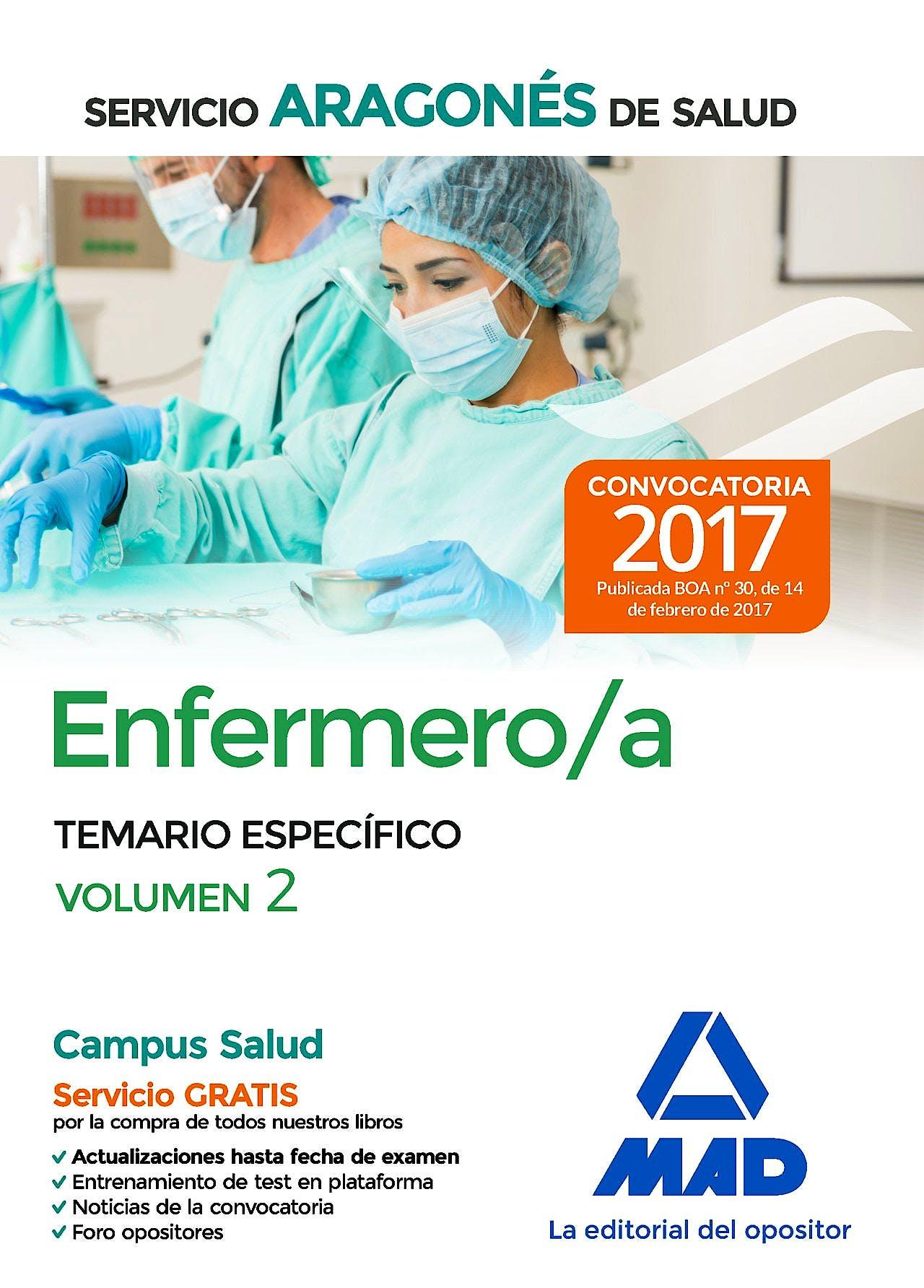 Portada del libro 9788414206287 Enfermero/a Servicio Aragonés de Salud. Temario Específico, Vol. 2