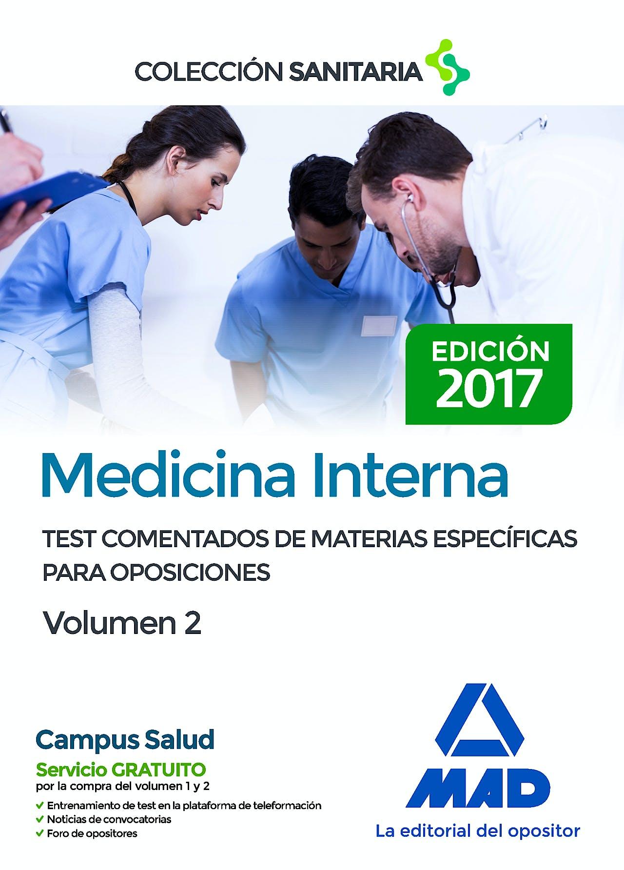 Portada del libro 9788414206911 Medicina Interna. Test Comentados de Materias Específicas para Oposiciones, Vol. 2