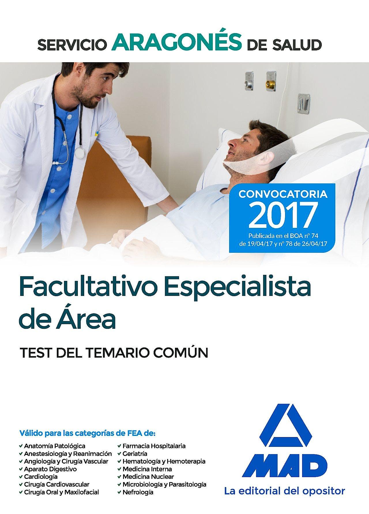 Portada del libro 9788414207659 Facultativo Especialista de Area Servicio Aragones de Salud. Test del Temario Comun
