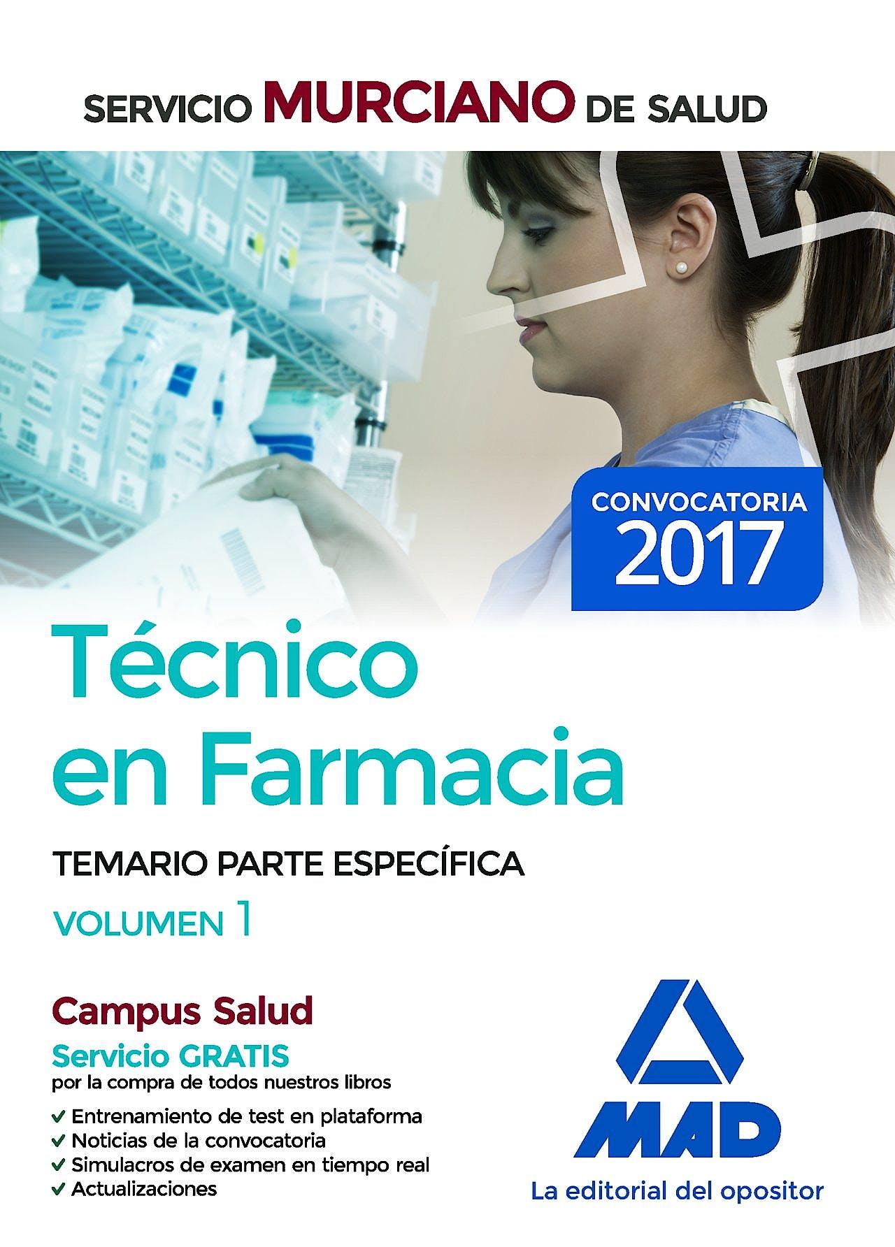 Portada del libro 9788414209363 Técnico en Farmacia Servicio Murciano de Salud. Temario Parte Específica, Vol. 1