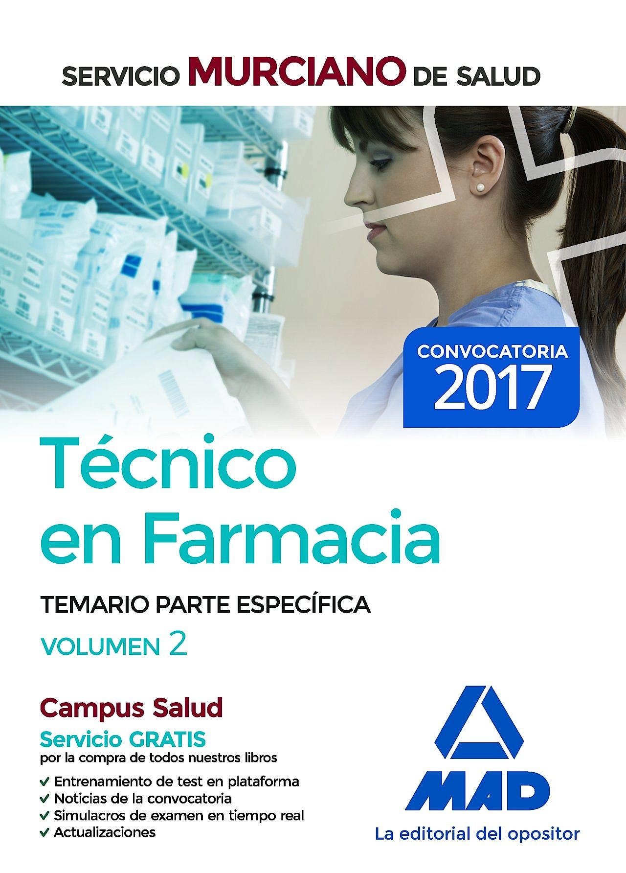 Portada del libro 9788414209370 Técnico en Farmacia Servicio Murciano de Salud. Temario Parte Específica, Vol. 2