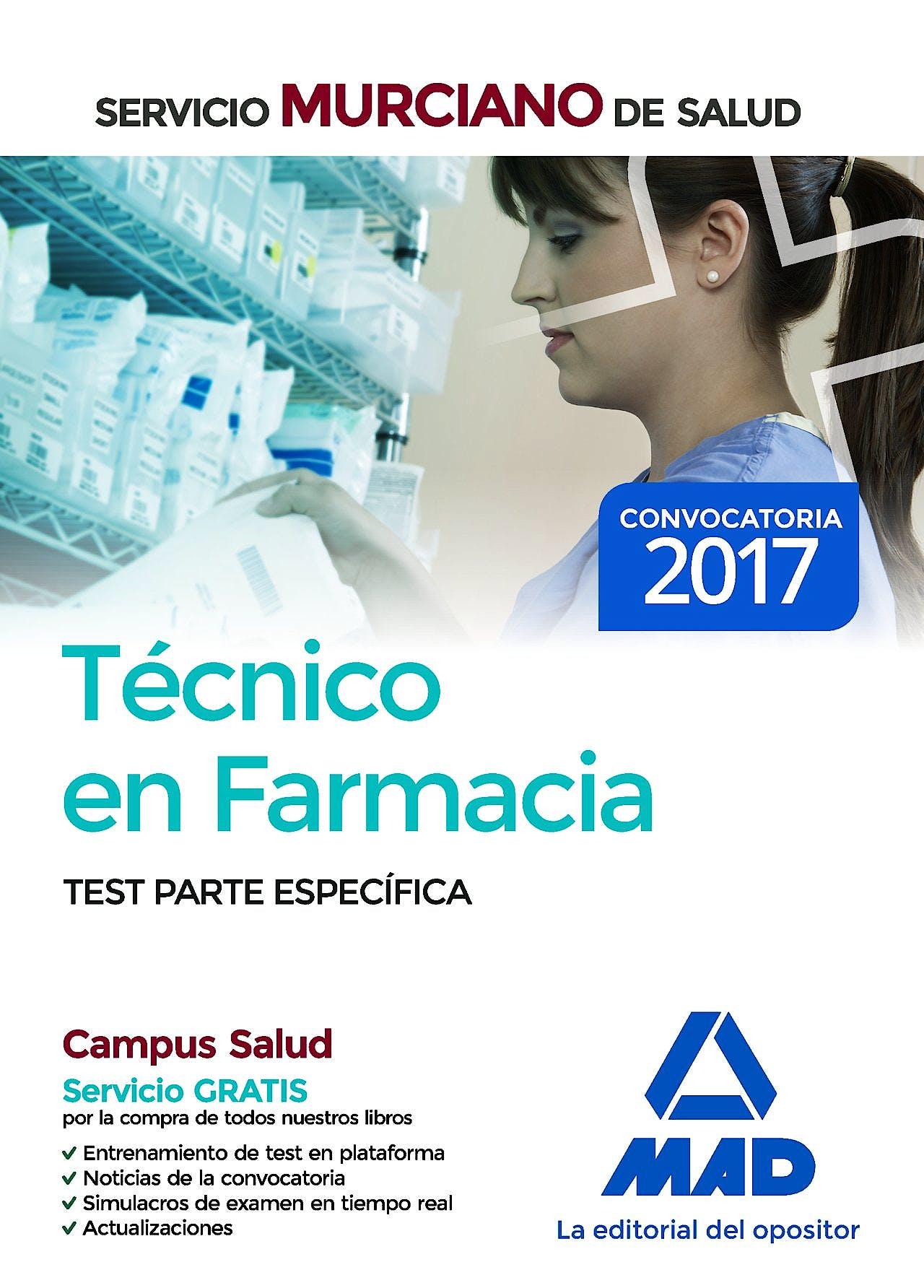 Portada del libro 9788414209677 Técnico en Farmacia Servicio Murciano de Salud. Test Parte Específica (Test 1 al 22)