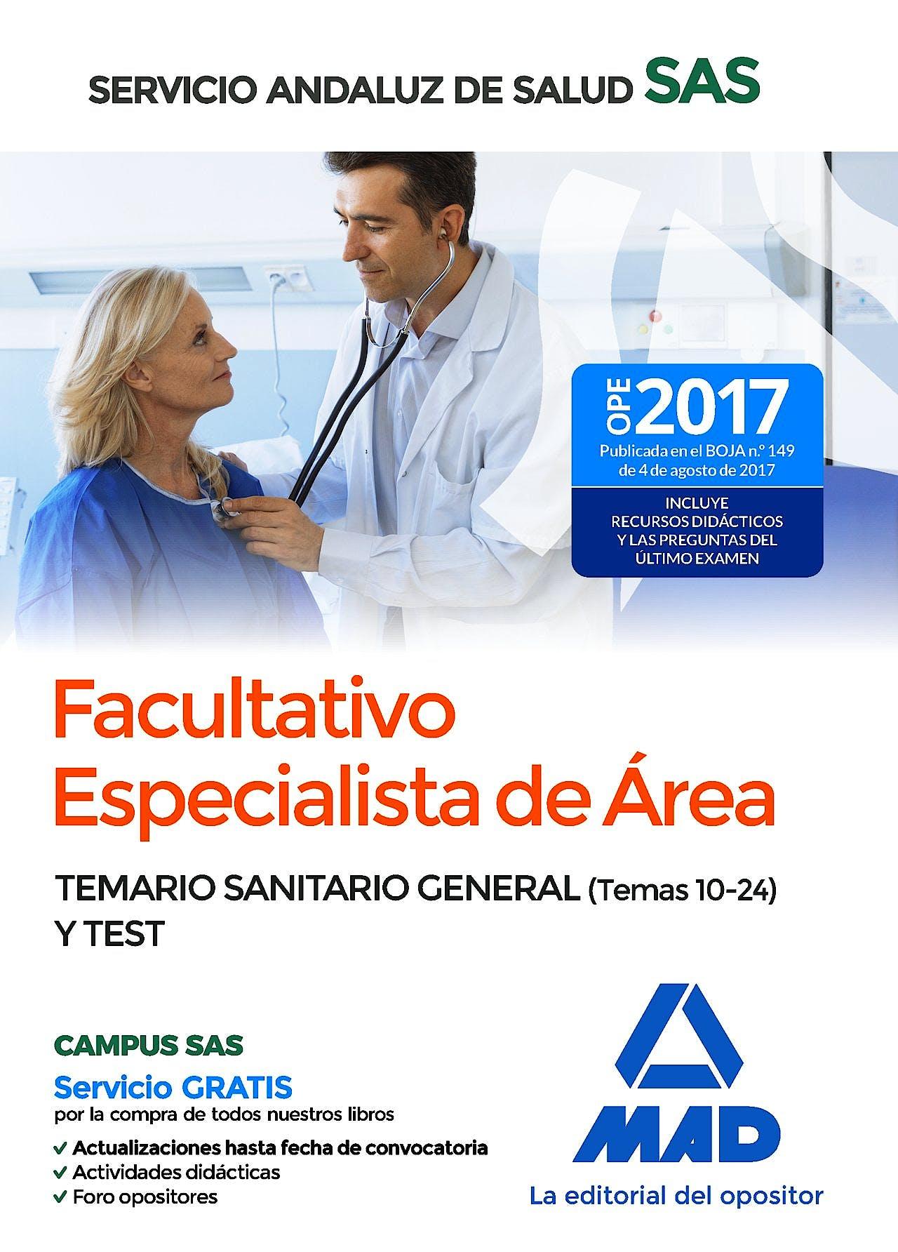 Portada del libro 9788414209806 Facultativo Especialista de Área Servicio Andaluz de Salud (SAS). Temario Sanitario General (Temas 10-24) y Test