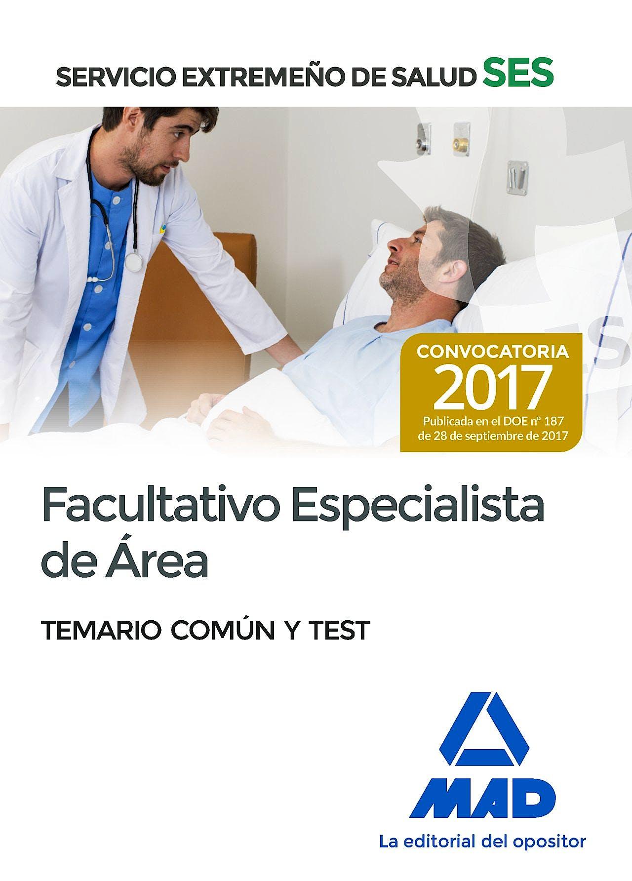 Portada del libro 9788414210802 Facultativo Especialista de Área Servicio Extremeño de Salud (SES). Temario Común y Test