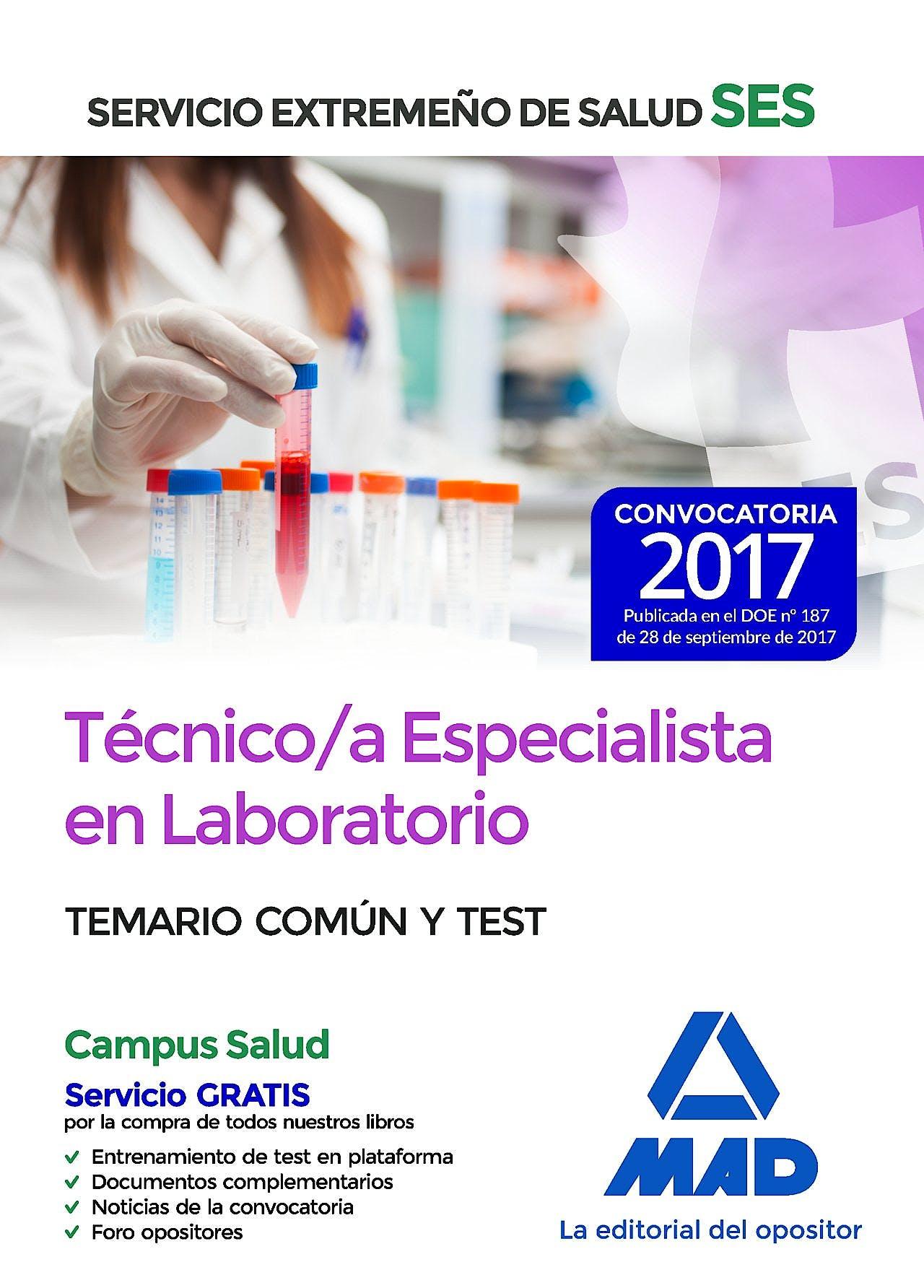 Portada del libro 9788414210840 Técnico/a Especialista en Laboratorio Servicio Extremeño de Salud (SES). Temario Común y Test