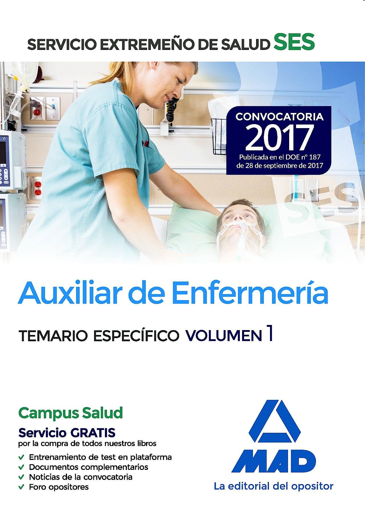 Portada del libro 9788414210949 Auxiliar de Enfermería Servicio Extremeño de Salud (SES). Temario Específico, Vol. 1