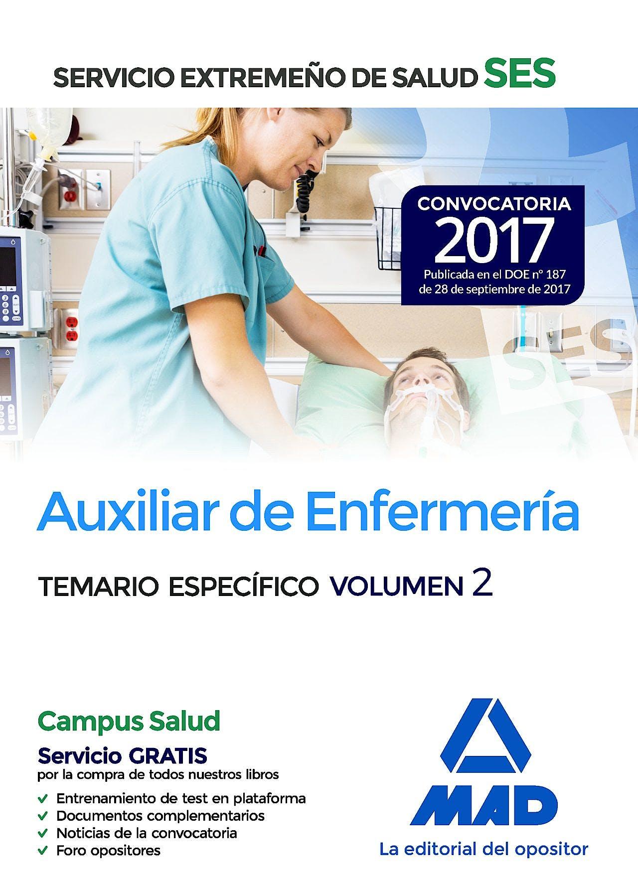 Portada del libro 9788414210956 Auxiliar de Enfermería Servicio Extremeño de Salud (SES). Temario Específico, Vol. 2