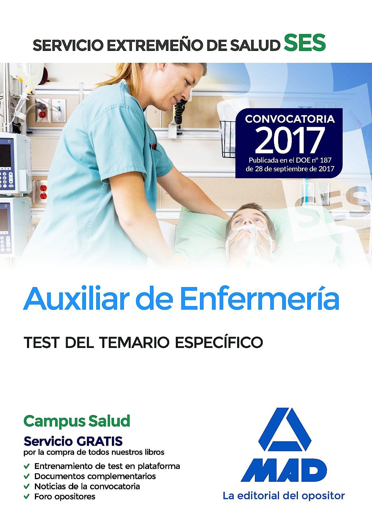 Portada del libro 9788414210970 Auxiliar de Enfermería Servicio Extremeño de Salud (SES). Test del Temario Específico