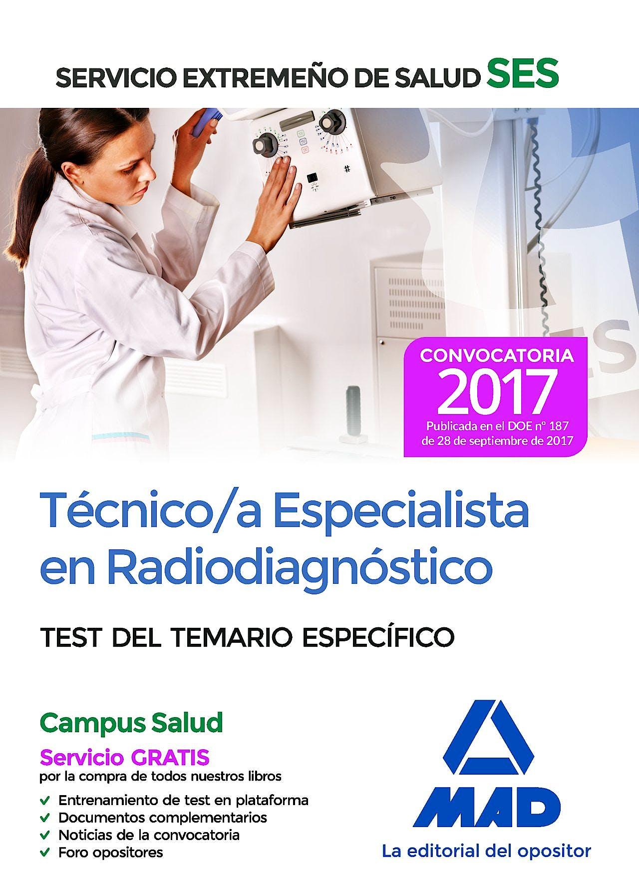 Portada del libro 9788414211120 Técnico/a Especialista en Radiodiagnóstico Servicio Extremeño de Salud (SES). Test del Temario Específico