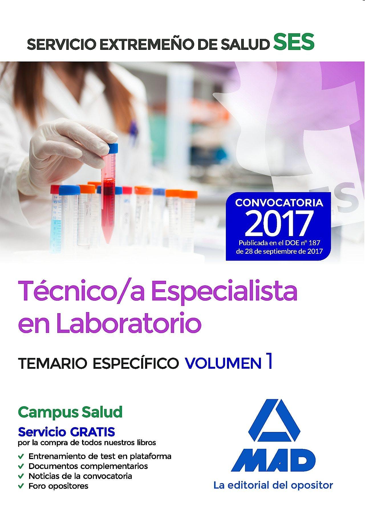 Portada del libro 9788414211199 Técnico/a Especialista en Laboratorio Servicio Extremeño de Salud (SES). Temario Específico, Vol. 1