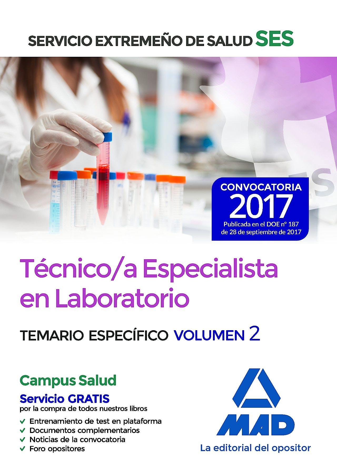 Portada del libro 9788414211205 Técnico/a Especialista en Laboratorio Servicio Extremeño de Salud (SES). Temario Específico, Vol. 2
