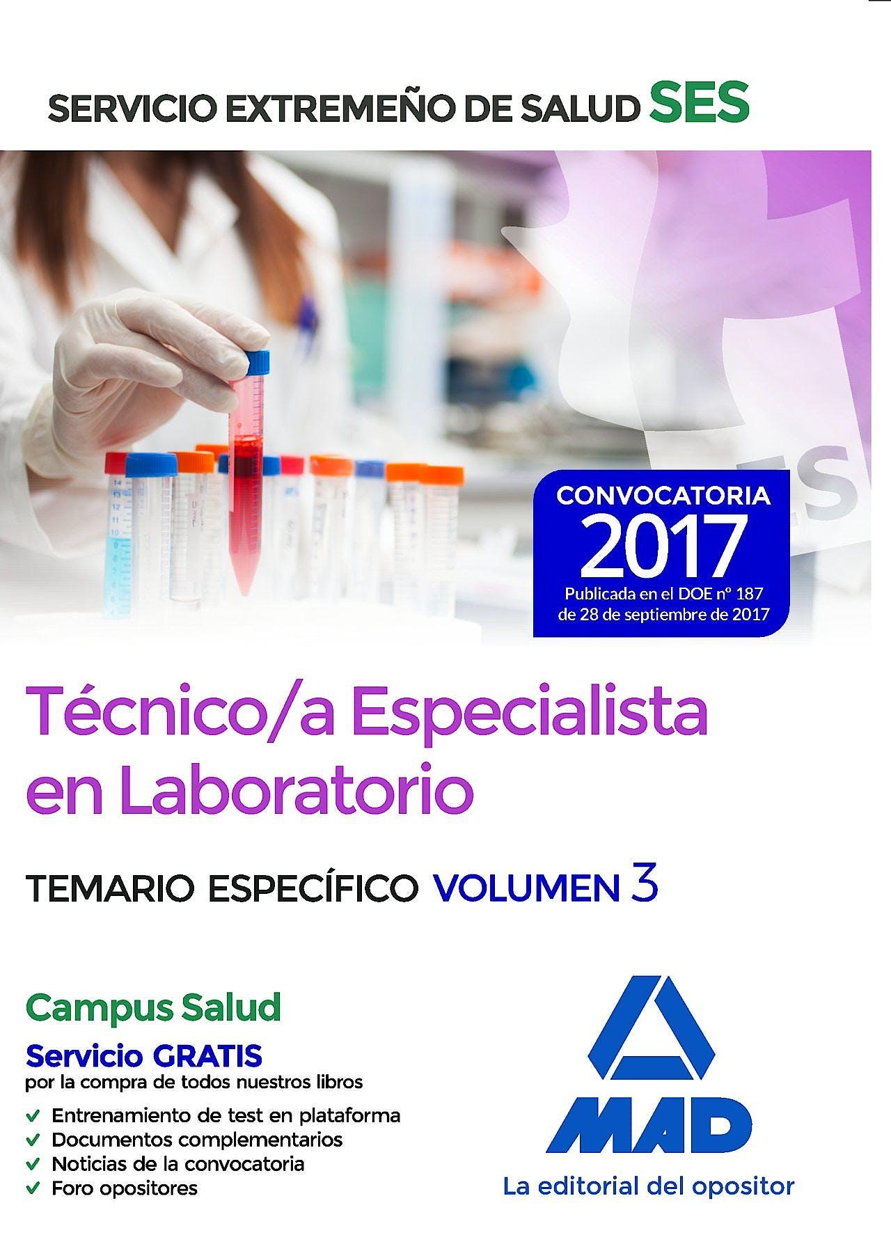 Portada del libro 9788414211212 Técnico/a Especialista en Laboratorio Servicio Extremeño de Salud (SES). Temario Específico, Vol. 3