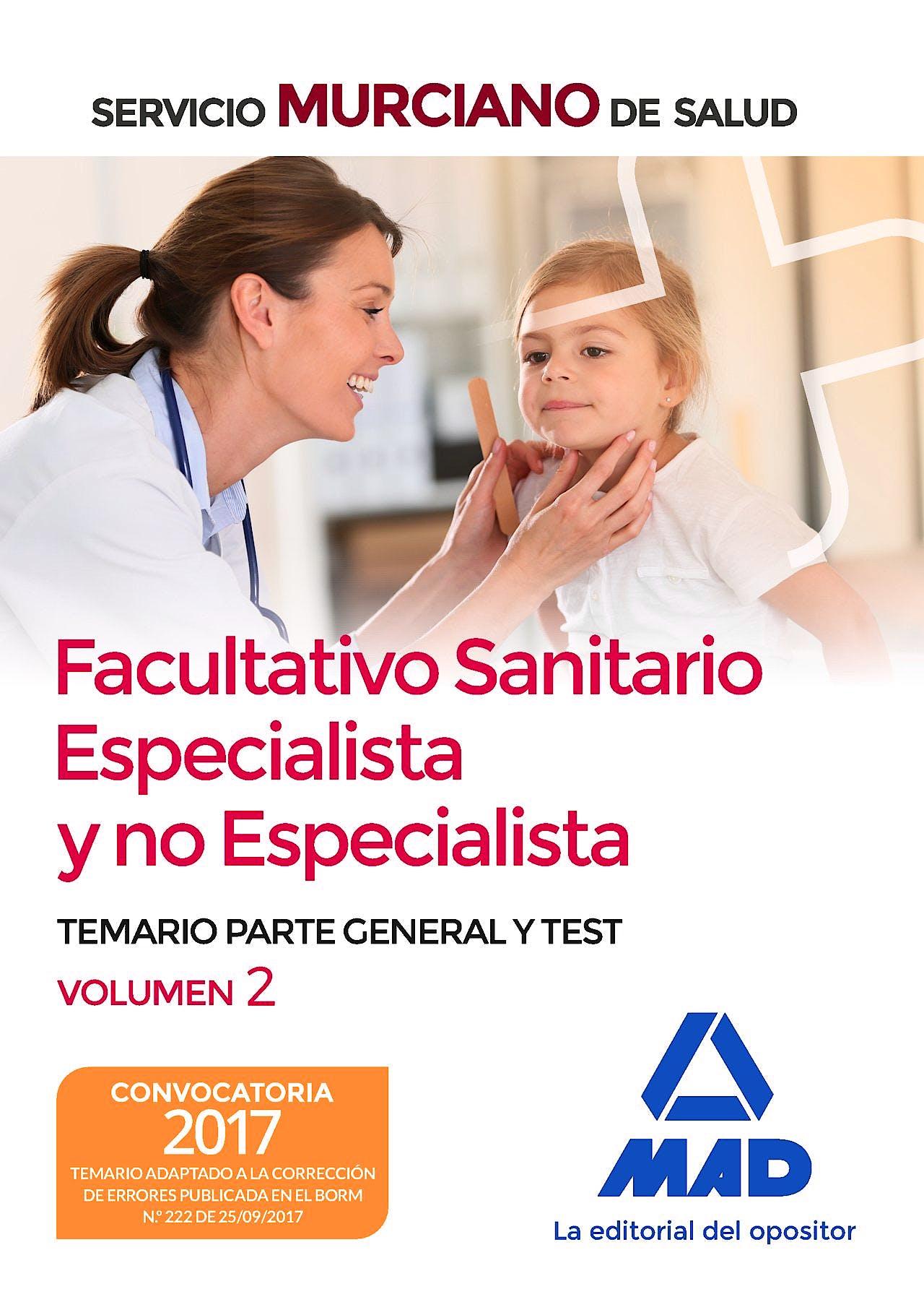 Portada del libro 9788414211694 Facultativo Sanitario Especialista y no Especialista Servicio Murciano de Salud. Temario Parte General y Test, Vol. 2