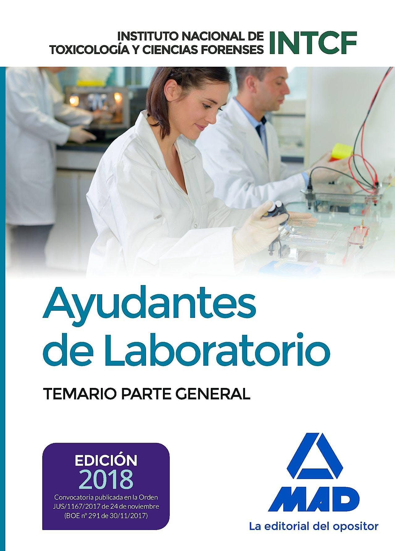 Portada del libro 9788414213483 Ayudantes de Laboratorio Instituto Nacional de Toxicología y Ciencias Forenses. Temario Parte General
