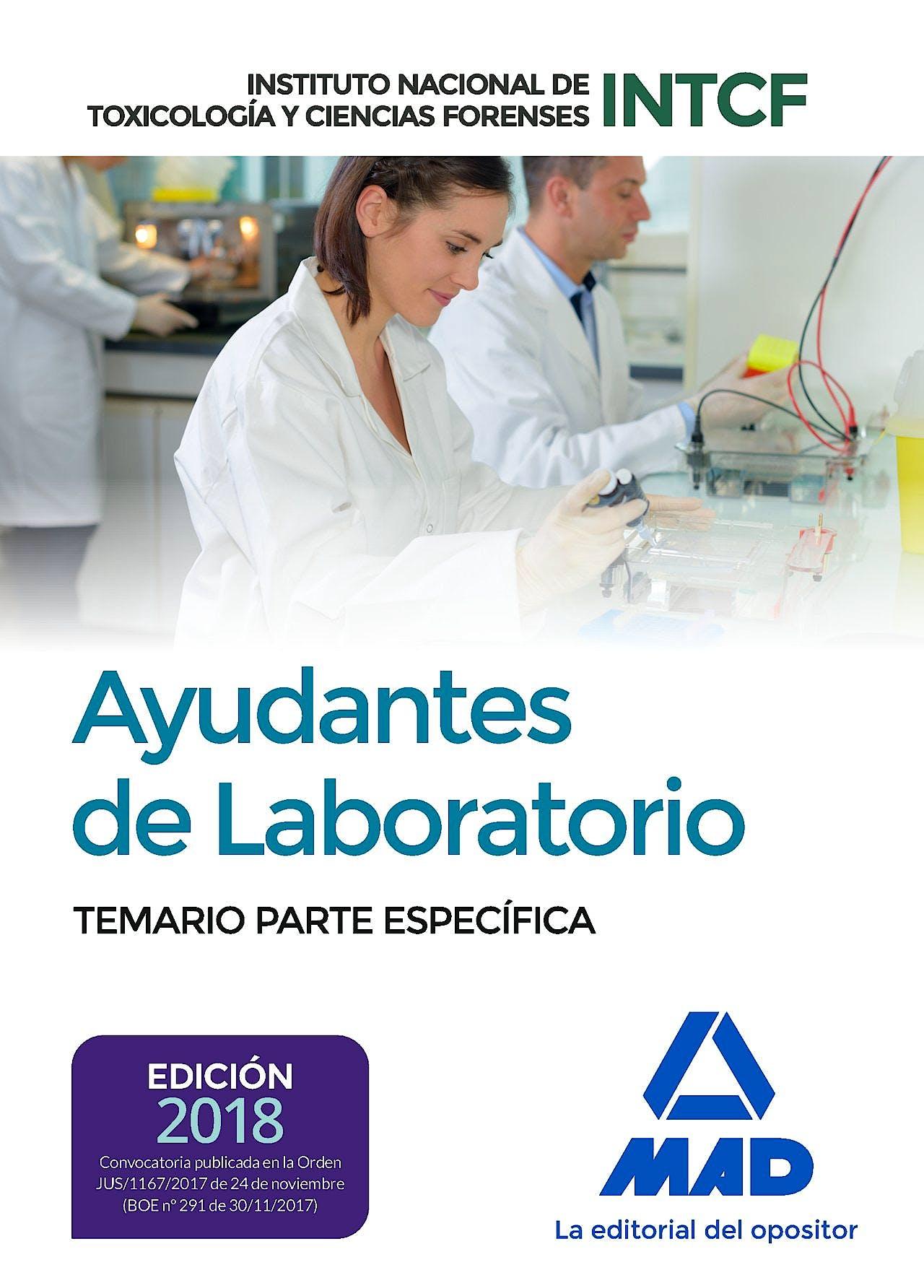 Portada del libro 9788414214343 Ayudantes de Laboratorio Instituto Nacional de Toxicología y Ciencias Forenses. Temario Parte Específica